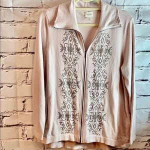 L/S zip front jacket with embellishment